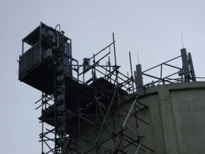 External hoist constructed to access water tower