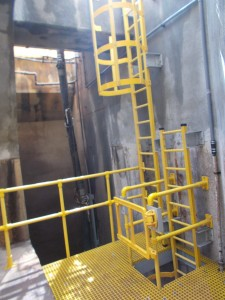 Installation of GRP ladders, platforms and handrails