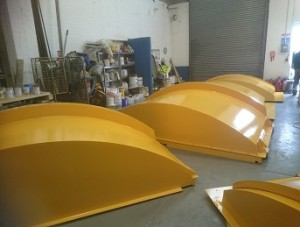 Completed tank lids ready for transportation