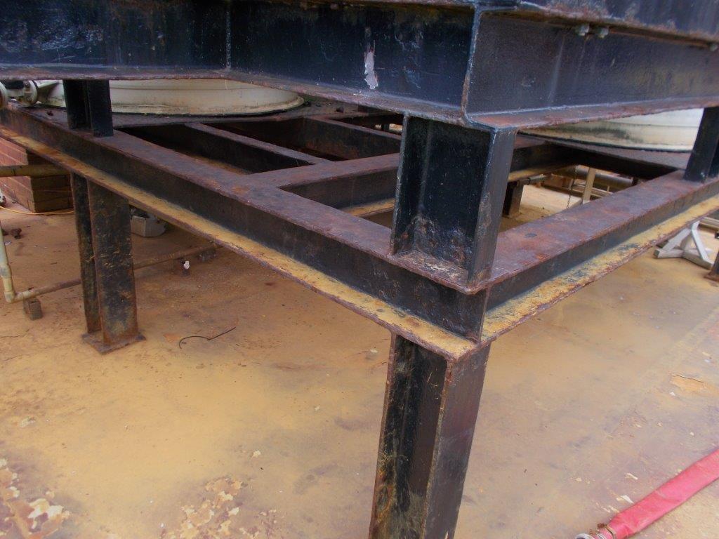 Steelwork before waterproof coating installed