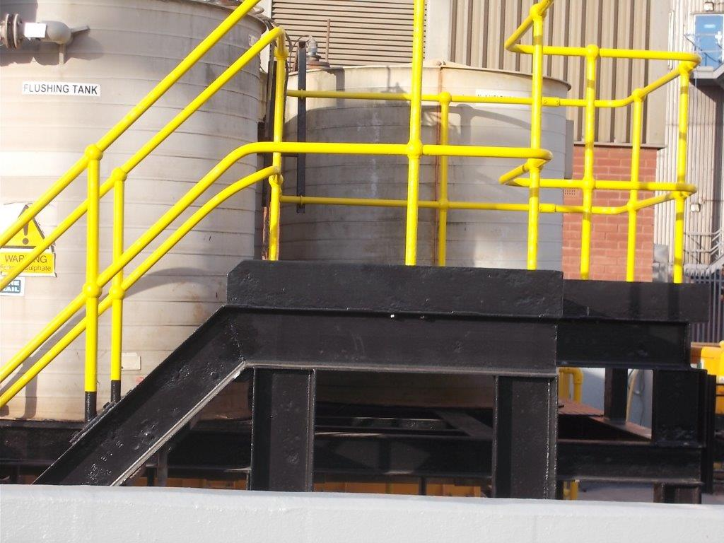Handrails with waterproof coating installed